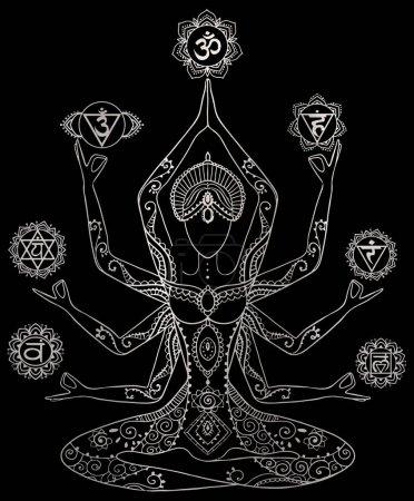 Photo pour Yoga kundalini guérison argent métallique chakras pleine conscience méditation spirituelle mantra illustration - image libre de droit