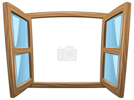 fenêtre ouverte structure en bois carré blanc architecture illustration