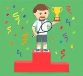 tennis player winning a trophy