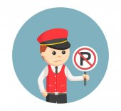 Male valet with forbidden parking sign in circle background