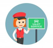 Female valet with valet service sign in circle background