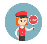 Female valet with stop sign in circle background