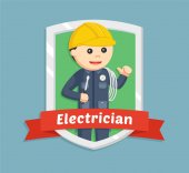electrician in emblem illustration design