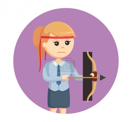 Illustration for Office warrior with bow in circle background - Royalty Free Image