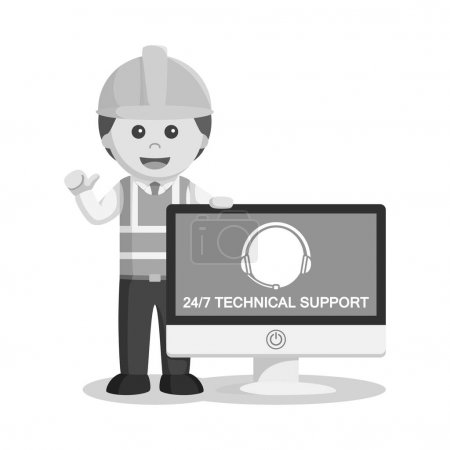 Illustration pour Technicien noir et blanc avec logo du service à la clientèle sur moniteur style noir et blanc - image libre de droit