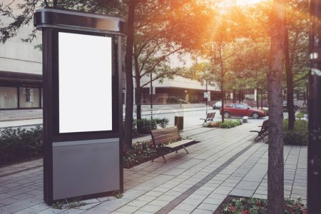 Photo for Mock-up of empty ad billboard in the city, Sunlights effects - Royalty Free Image