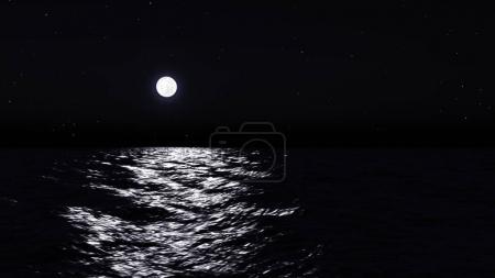 Photo pour Pleine lune sur l'eau avec Résumé brillant de l'eau. - image libre de droit