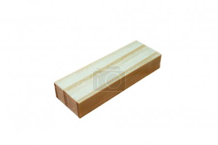 wooden block on white background isolated close up