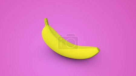 Photo pour Banane jaune sur fond rose Illustration 3d - image libre de droit