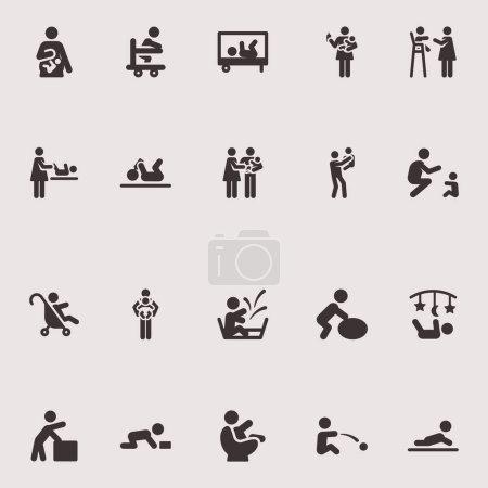 Illustration pour Icônes vectorielles monochromes sur le thème des loisirs jeune enfant - image libre de droit