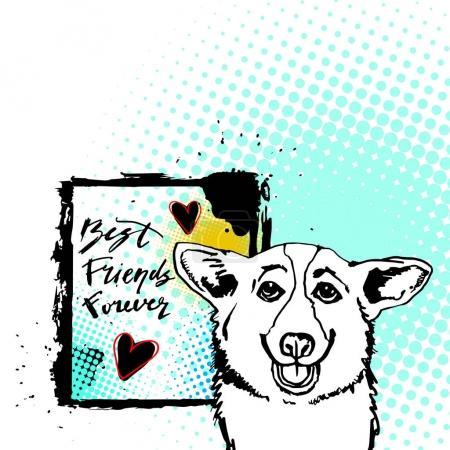 Photo pour Gallois, chien, corgi, animal, illustration, pet, blanc, oreilles, race, pembroke - image libre de droit