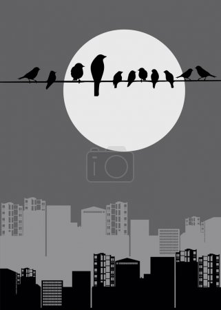 architecture industrial pipe birds moon sparrows