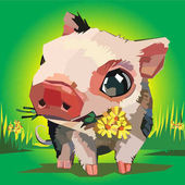Vector illustration of cartoon pig flowers grass
