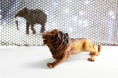 Lion and Elephant model animals through steel grating
