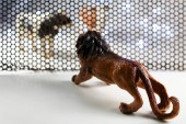 Lion and Cow model animals through steel grating.