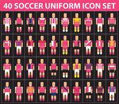 40 soccer football pink uniform icon set vector illustration