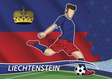 Soccer team player in uniform with state national flag of Liechtenstein.