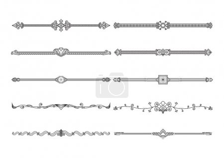 Illustration for Set of decorative elements, border and page rules frame. vector illustration. - Royalty Free Image
