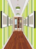 Interior of an internal corridor Design of an old corridor Hallway illustration