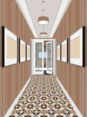 Modern Classic Hall Hallway Corridor In Old Vintage Apartment Hallway illustration