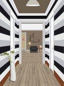 Modern Classic Hall Hallway Corridor In Old Vintage Apartment Hallway illustration Interior of an internal corridor