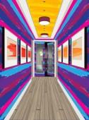 Interior of the internal corridor Design of a colorful corridor Hallway illustration