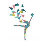 Gymnast with ball Art gymnastics abstract vector background illu