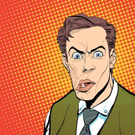 Illustration for Portrait of scared man. Scared businessman. Surprised man. Concept idea of advertisement and promo. Pop art retro style illustration. People in retro style. Halftone background. Mans face. - Royalty Free Image