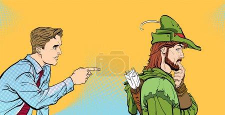 Modern man and Robin Hood. Businessman and medieva...