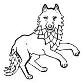 Vector illustration of wolf black and white