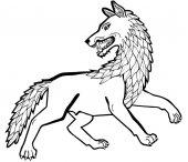 Vector illustration of dire wolf black and white