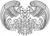 Vector illustration of angel wolves in love celtic ornament black and white