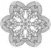 Vector illustration of decorative wolf mandala black and white