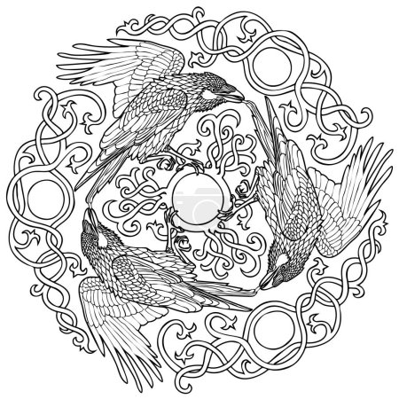 Vector illustration of three ravens viking fantasy...