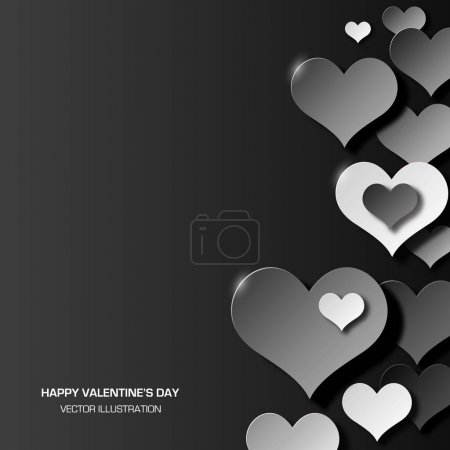 Abstract love background three dimensional black and white hearts shapes