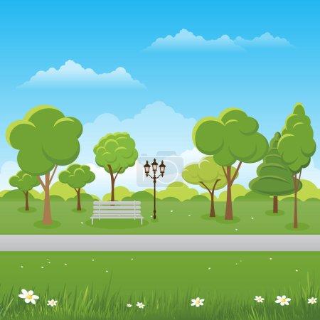 Spring landscape background. Public park Vector il...