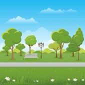 Spring landscape background Public park Vector illustration