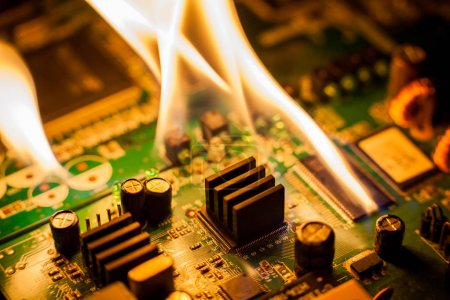 Photo for Fire Burning circuit board with electronic - Royalty Free Image