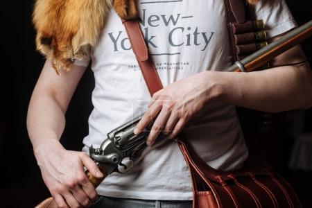 man with fox pelt