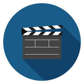 Movie clapper board icon Illustration in flat style Round icon with long shadow