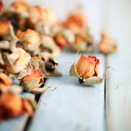 Photo for Beautiful dried roses on wooden background - Royalty Free Image