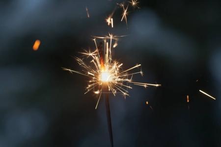 Sparkler burning in the dark