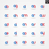 Initial letter A compilation from A to Z lowercase logo design template colorful