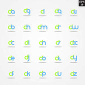 Initial letter D compilation from A to Z lowercase logo design template colorful