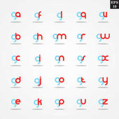 Initial letter G compilation from A to Z lowercase logo design template colorful