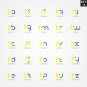Initial letter H compilation from A to Z lowercase logo design template colorful