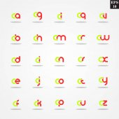 Initial letter C compilation from A to Z lowercase logo design template colorful