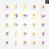 Initial letter K compilation from A to Z lowercase logo design template colorful