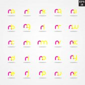 Initial letter N compilation from A to Z lowercase logo design template colorful