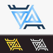 Initial letter AA premium blue metallic rotated lowercase logo template in white background, and custom preview in gold and silver color